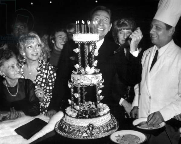 Charles Trenet Celebrating his Birthday With his Mother Marie-Louise Caussat and Line Renaud in Paris, May 18, 1972 (b/w photo)