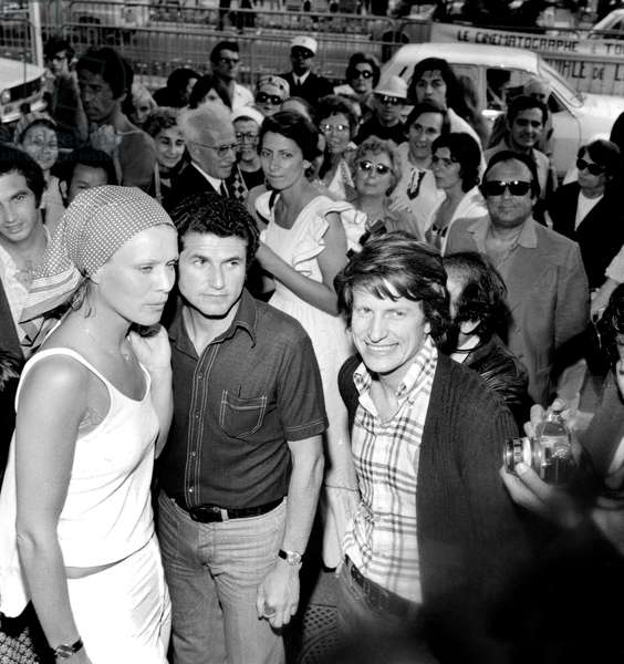 Claude Lelouch With Actors Marthe Keller and Andre Dussolier at Cannes Film Festival For Film and Now My Love May 20, 1974 (b/w photo)