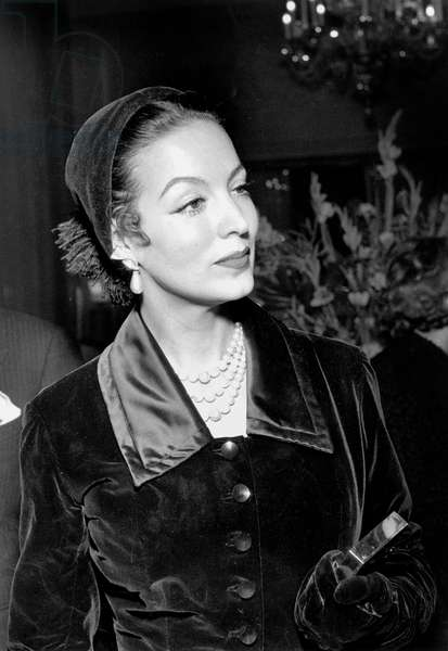 Actress Maria Felix at Premiere of Film Messaline in Paris December 19, 1951  (b/w photo)