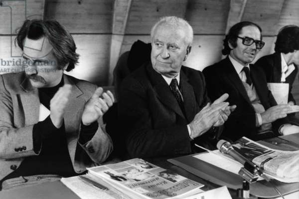 At the Debut De Sceance, A La Tribune Regis Debray; Gaston Defferre and Perez Esquivel, Nobel Prize winner. Here at the International Symposium for Science and Culture Reunited at UNESCO. March 19, 1981 (b/w photo)
