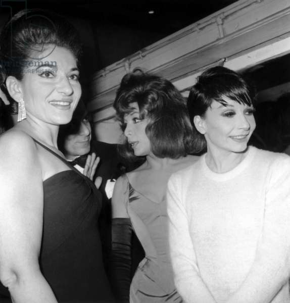 Maria Callas, Juliette Greco and Zizi Jeanmaire at Gala Adieu A Tabarin June 4, 1966 (b/w photo)