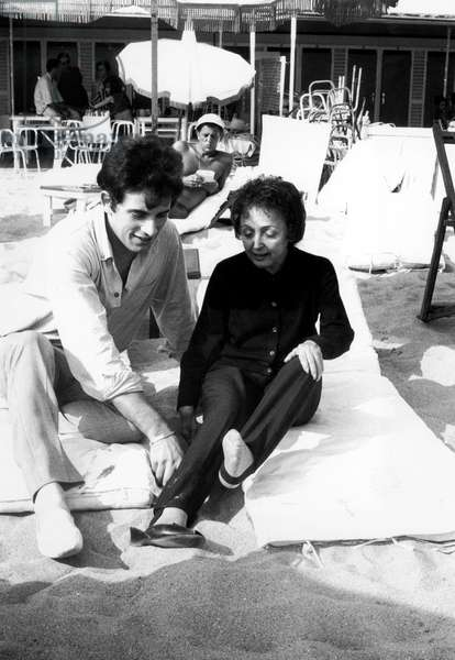 Theo Sarapo and Edith Piaf on The Beach in Nice on The Riviera August 2, 1962 (b/w photo)