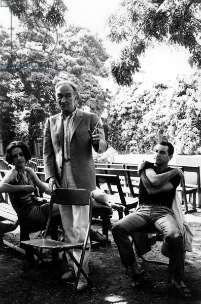French Choreographer Maurice Bejart and Stage Director Jean Vilar during Press Conference at Avigon Festival, France, July 29, 1967 (b/w photo)