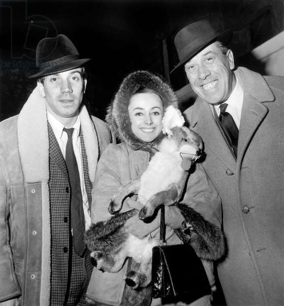 French Actors Franck Fernandel, Liane Dayde Et Fernandel Back From Tour in Canada and United States December 14, 1965 (b/w photo)