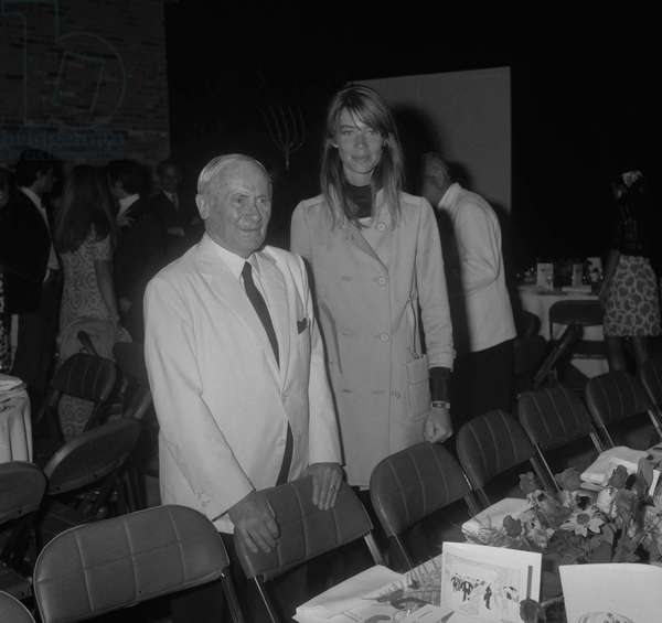 Joan Miro with French singer Francoise Hardy at his 75th birthday celebration at the Maeght Foundation in Saint Paul de Vence on July 24, 1968