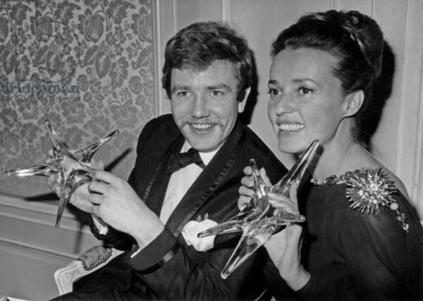 Jeanne Moreau and Albert Finney Have Received Prize, Paris, December 18, 1962 (b/w photo)