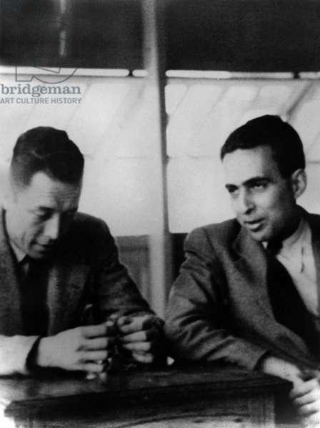 French Writer Albert Camus and Andre Benichou in Oran, 1942 (b/w photo)