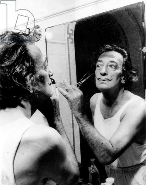 Salvador Dali Cutting his Mustache October 12, 1964 (b/w photo)