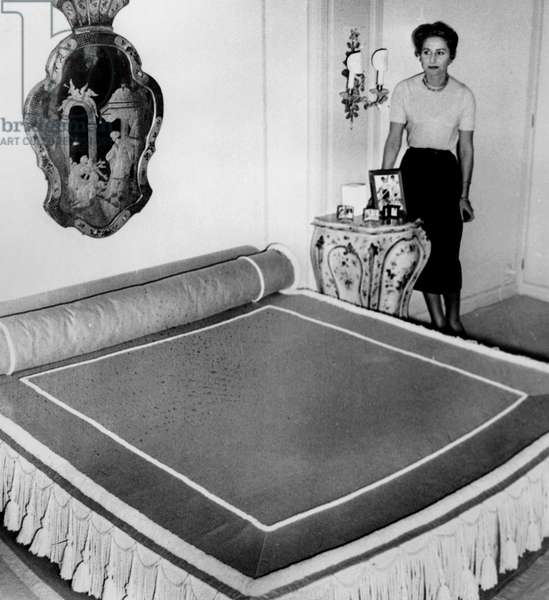 Tina Onassis First Wife of Aristotle Onassis in her Cabin Aboard Yacht Christina September 8, 1959 (b/w photo)