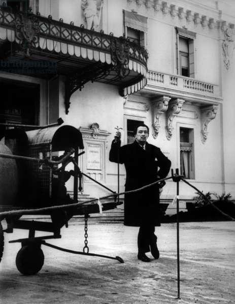 Salvador Dali Outside Monaco Casino on April 20, 1959 (b/w photo)