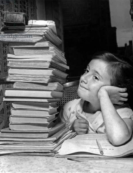End of Holidays With La Rentree Des Clases On September 6, 1954 (b/w photo)