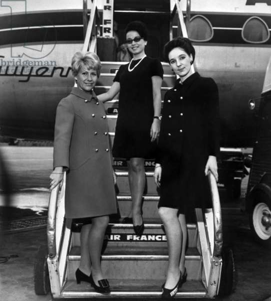 Air France Stewardess With Suit By Philippe Venet, Orly Airport, Paris, October 3, 1968 (b/w photo)