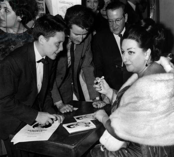 Cantatrice Montserrat Caballe During A Seance Of Autographs At La Salle Pleyel June 22, 1966 (b/w photo)
