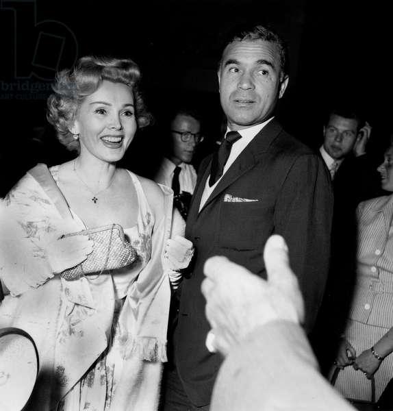 Zsa Zsa Gabor and Porfirio Rubirosa May 6, 1955, at Cannes Festival (b/w photo)