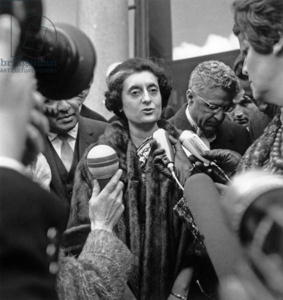 Indian Prime Minister Indira Gandhi, March 25, 1966, Paris (b/w photo)