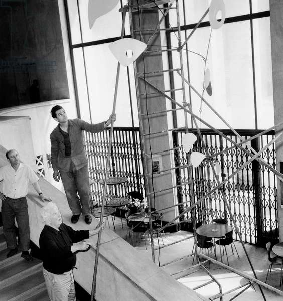 American Sculptor Alexander Calder during Exhibition in Paris June 30, 1965