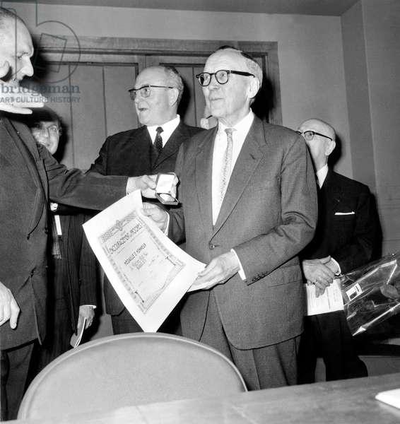 English Engineer Sir Robert Watson-Watt (1892-1973) Receiving Honorary Medal From Society of Encouragement To Progress April 09, 1967 (b/w photo)