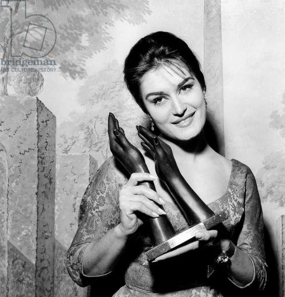 "Singer Dalida Receiving An Award (""Bravos Du Music Hall"") on February 27, 1959 (b/w photo)"
