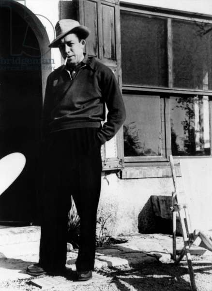 French Writer Albert Camus Outside The House of his Friend The Writer Pierre Herbart in Cabris 1950 (b/w photo)