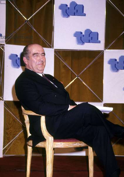 Francis Bouygues during Transfer of Powers at Management of French Tv Channel Tf1 April 17, 1987 (Privatization of Tf1) (photo)