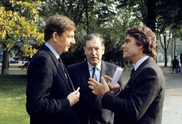 Etienne Mougeotte, Patrick Le Lay and Bernard Tapie on March 30, 1990 (photo)