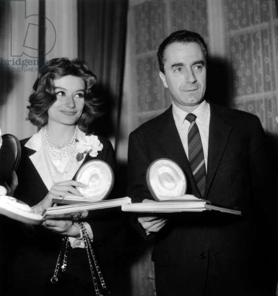 French Actress Anouk Aimee and Italian Director Michelangelo Antonioni, March 8Th 1962, Winners of The German Movies Critics (b/w photo)