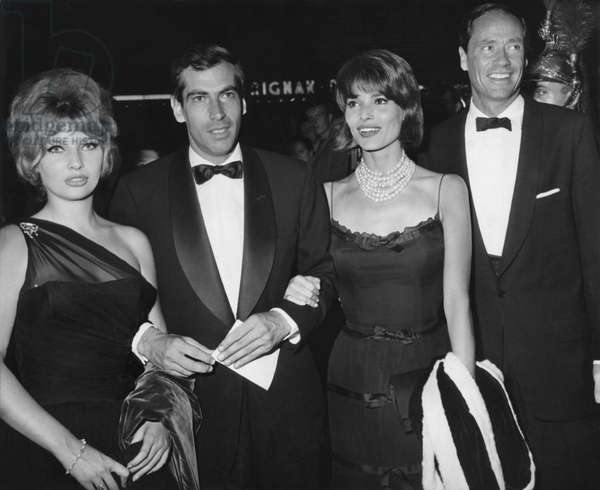 "Annette Vadim, And Her Husband, Elsa Martinelli And Mel Ferrer Attend The Premiere Of ""And Die Of Pleasure"" The Last Film By Roger Vadim. September 14, 1960. (b/w photo)"