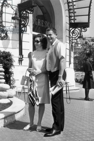 Glenn Ford and his 2Nd Wife Kathryn Hayes during Their Honeymoon in Nice (French Riviera) May 5, 1966 (b/w photo)