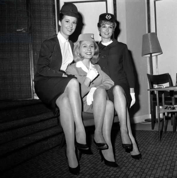 """Jenny Dolcey, Annick Bouquet and Veronique Silver (Virlojeux) in Play """"Boeing Boeing"""" September 27, 1963 (b/w photo)"""