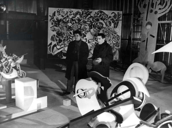 "Raymond Moretti (R, 1931-2005) French Painter, in his Workshop With Composer Pierre Henry For A Project Called ""Physical Painting"" on December 24, 1968 (b/w photo)"