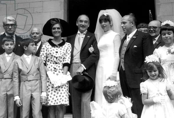 Wedding of Eddie Barclay and his 3Rd Wife Marie Christine Steinberg on July 1St, 1965 (b/w photo)