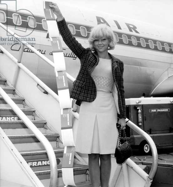 Sylvie Vartan Before Flight With Air France Plane, 1964 (b/w photo)