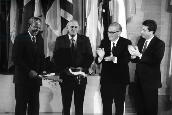 Anc President Nelson Mandela, With Frederick De Klerck, Henry Kissinger and Frederico Mayor at Unesco during Peace Nobel Prize Given To Mandela February 03, 1993 (b/w photo)