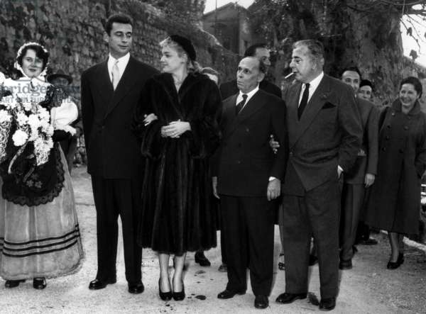 Yves Montand and Simone Signoret Are Marrying in Saint-Paul-De-Vence (France) December 22, 1951 With Jacques Prevert (b/w photo)