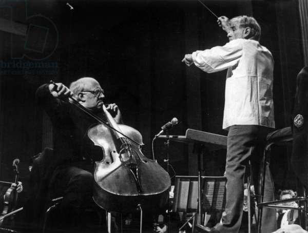 Mstislav Rostropovitch and Leonard Bernstein during Rehearsal in August 1977 (b/w photo)