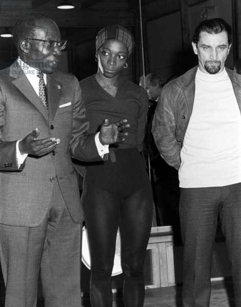 Senegalese President Leopold-Sedar Senghor With Choreographers Diane Gray-Cullert and Maurice Bejart October 23, 1970 (b/w photo)