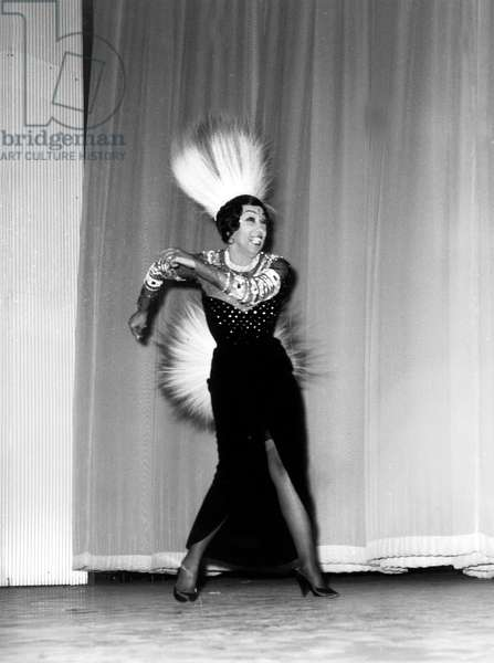 Josephine Baker on Stage at Olympia in Paris April 05, 1968 (b/w photo)