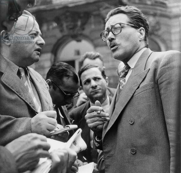 Former Resistant Francois De Menthon After Ministers Meeting July 2, 1946 during Tripartite Provisional Government (b/w photo)