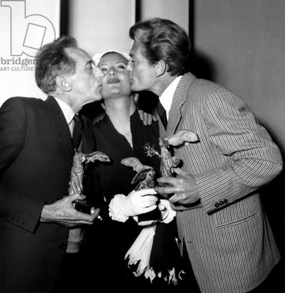 Jean Cocteau , Michele Morgan and Jean Marais at French Movie Prize Ceremony April 10, 1951 in Cannes (b/w photo)