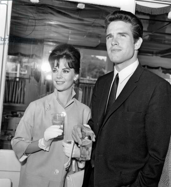 Actors Natalie Wood and Warren Beatty at Cannes Film Festival May 14, 1962 (b/w photo)