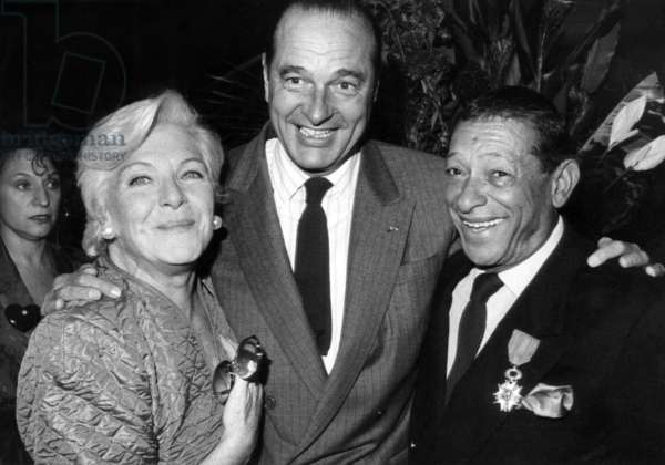 Line Renaud and Jacques Chirac (Paris Mayor) Congratulating The Singer Henri Salvador Who Has Just Received The Chevalier of The Legion of Honour Cross on October 4, 1988 (b/w photo)