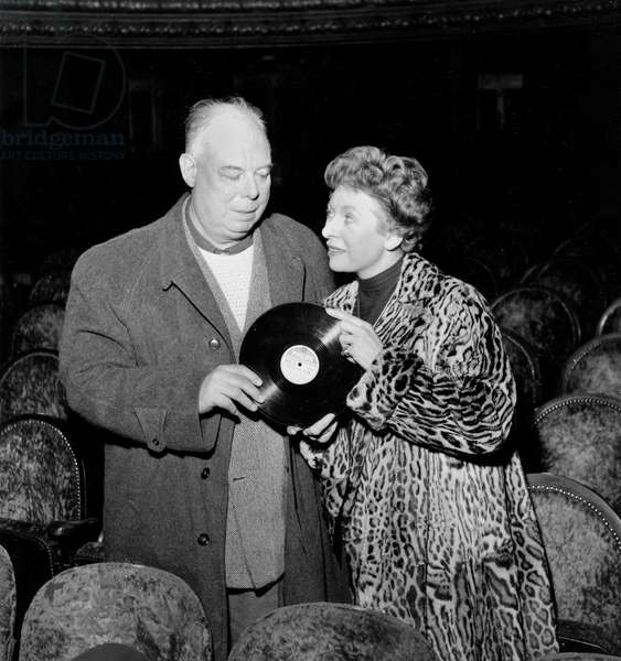 Jean Renoir and Patachou March 10, 1955 : She'S Giving 1St Record of A Song Written By Renoi and Song By Patachou For Film French Cancan (b/w photo)