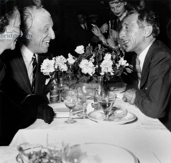French Writers Henri Bernstein and Jean Cocteau in Restaurant October 1St, 1948 (b/w photo)
