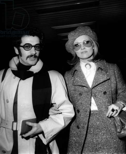 Faye Dunaway and her Fiance Schatzberg at Premiere of Film Bonnie and Clyde January 23, 1968 (b/w photo)
