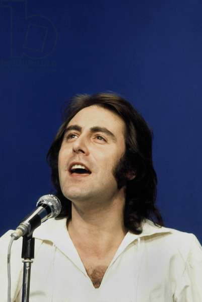 French singer Michel Delpech during recording of a tv programme, January 1975 (photo)