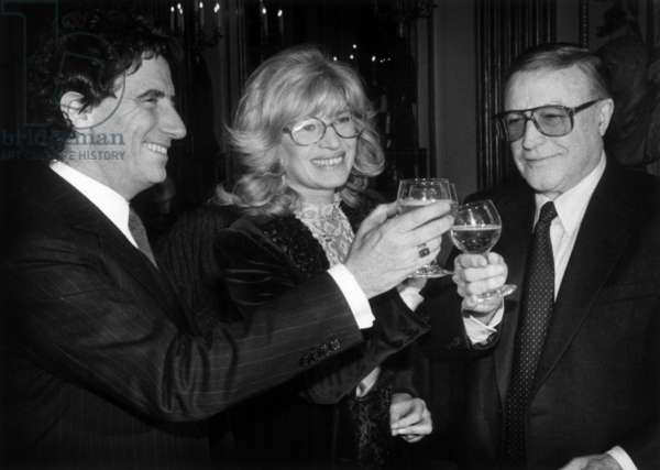 Monica Vitti, Congratulated By Jack Lang (French Minister of Culture) and Gene Kelly, After She Received An Award (Officer of Ordre Des Arts Et Des Lettres) on March 2, 1984 in Paris (b/w photo)