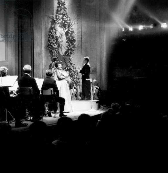 Opera Singer Maria Callas With Orchestra during Charity Concert in Paris June 06, 1963 (b/w photo)
