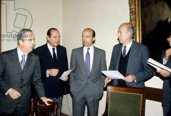 Edouard Balladur, Jacques Chirac, Mayor of Paris and President of The Rpr, Alain Juppe and Valery Giscard D'Estaing, President of The Regional Council of Auvergne and President of The Udf during A Meeting of The Tow Politics Parties, in 1989 (b/w photo)