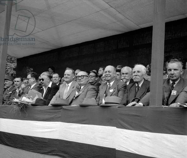 National Day in Paris on July 14, 1949 : Benoit Frachon, Yves Farge, Maurice Thorez, Jacques Duclos, Andre Marty, Marcel Cachin (b/w photo)