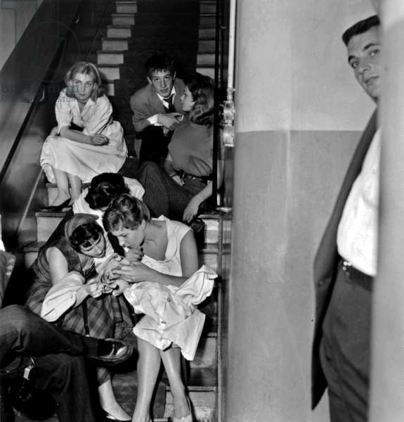 Jean-Paul Belmondo here during Competitive Examination of Comedy at Theatre Academy on July 2, 1955 (b/w photo)